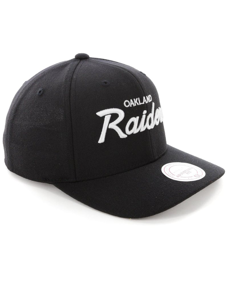 Mitchell & Ness Raiders Basic Script Precurve Snapback Black/White