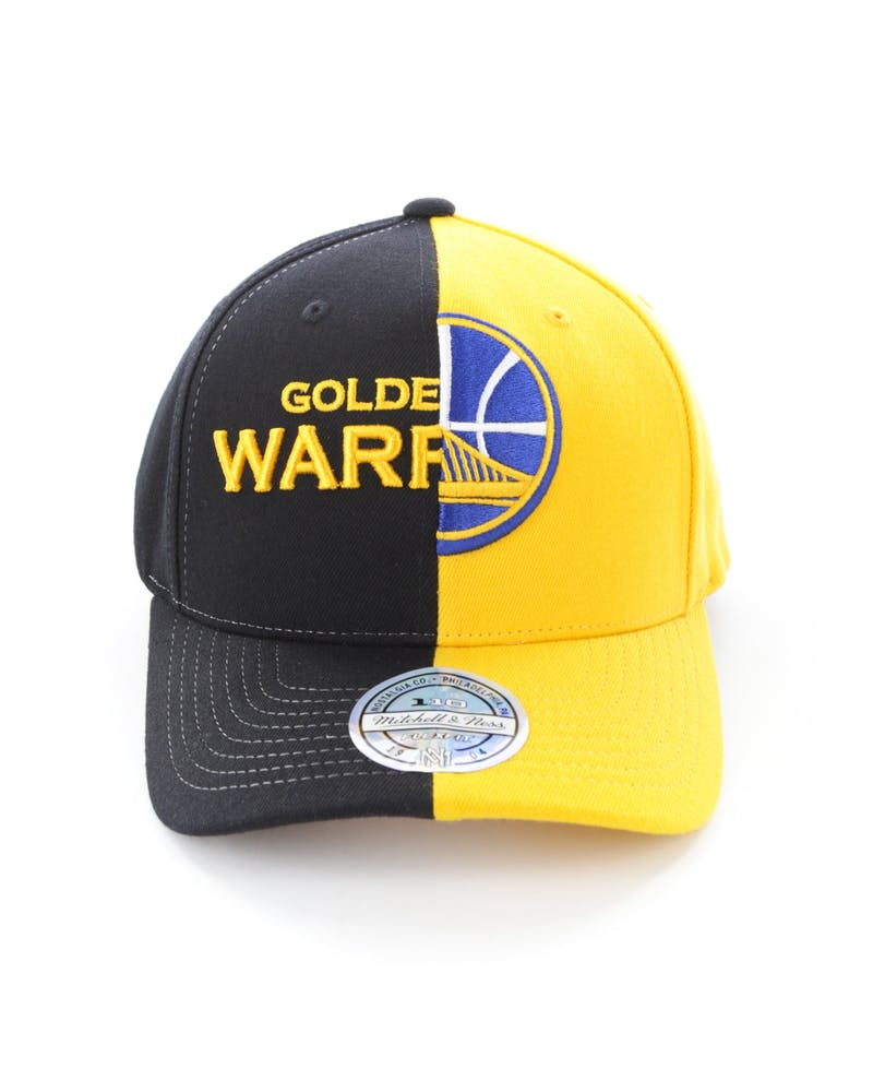 Mitchell & Ness Golden State Warriors Pinch 110 Flex Half & Half Snapback Black/Yellow