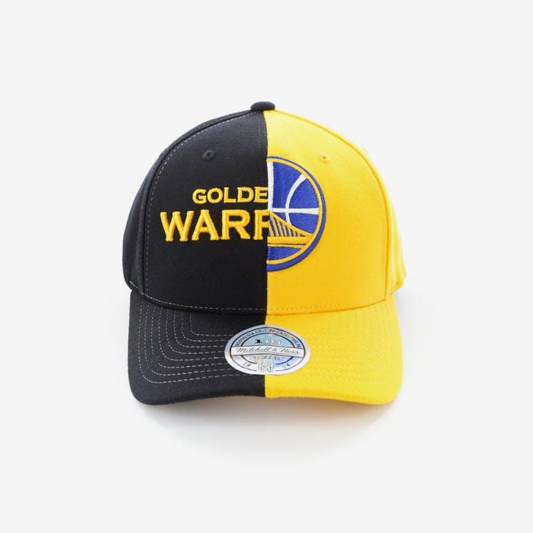 2740f1c5da2 Mitchell   Ness Golden State Warriors Pinch 110 Flex Half   Half Snapback  Black Yellow