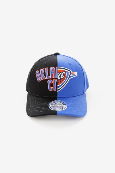 Mitchell & Ness Oklahoma City Thunder Pinch 110 Half & Half Snapback Black/Blue
