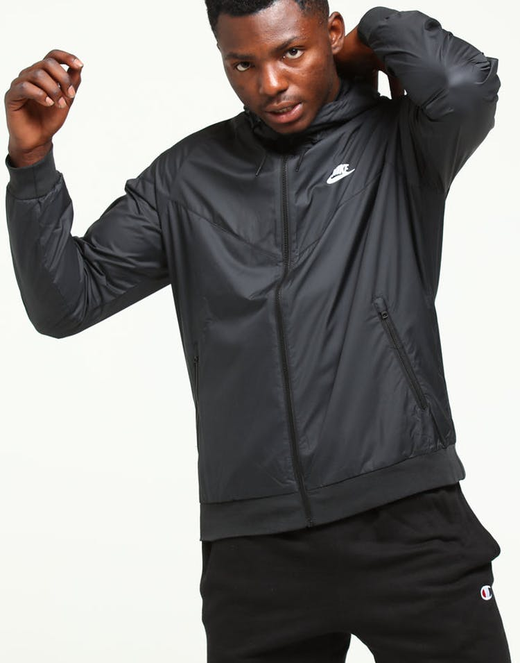united states new lifestyle boy Nike Windrunner Jacket Black/Black/White