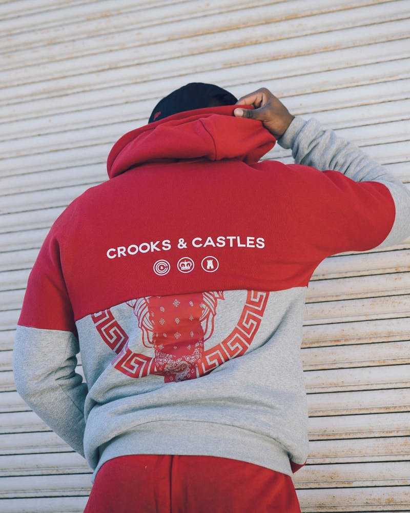 Crooks & Castles Defaced Bandito Knit Pullovers Crimson/Grey