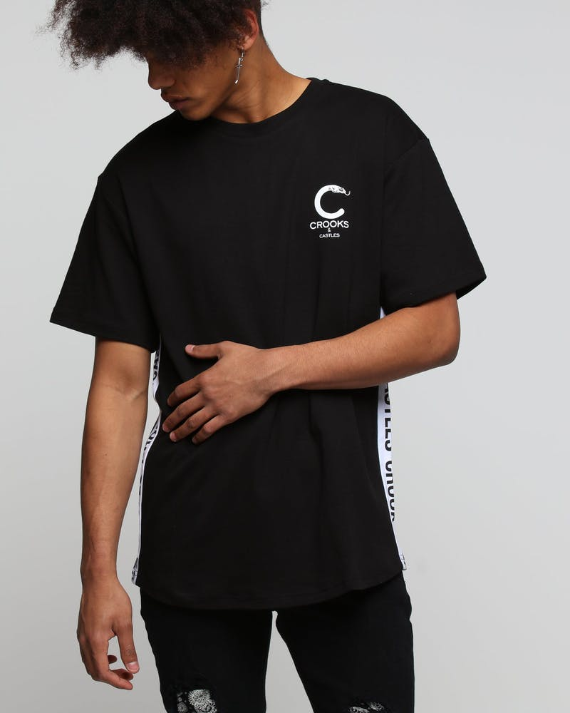 Crooks & Castles Side Line Knit S/S Scallop Tee Black