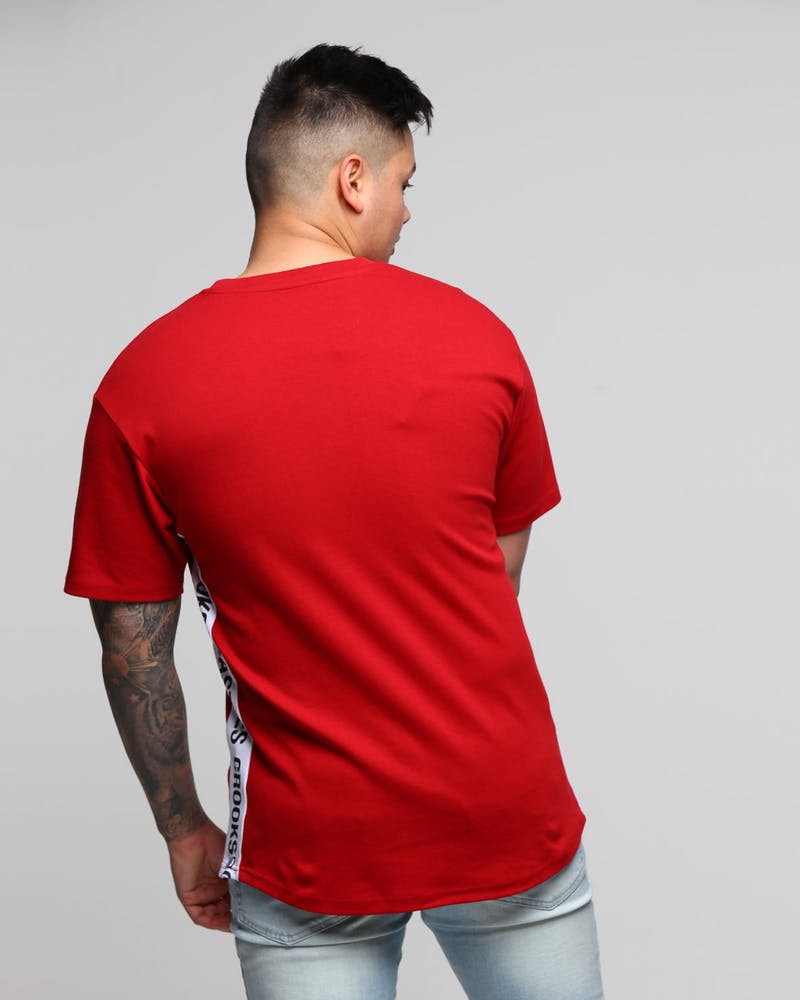 Crooks & Castles Side Line Knit S/S Scallop Tee Crimson