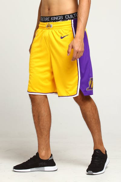Los Angeles Lakers Nike Icon Edition Swingman Shorts Yellow/Purple/White