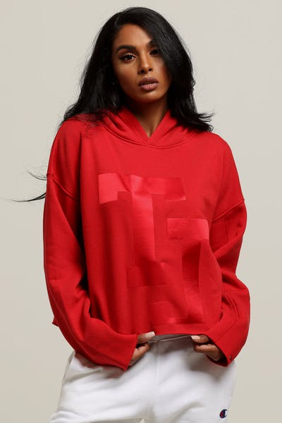 Tommy Jeans Women's TJ Raw Hem Dem Detail Hoodie Red