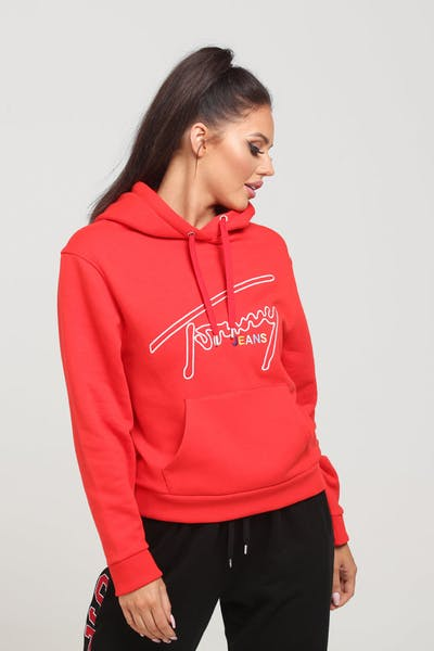 Tommy Jeans Women's TJW Tommy Signature Hoodie Scarlet