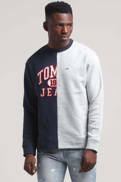 Tommy Jeans TJM Split Logo Crew Black Iris/Light Grey