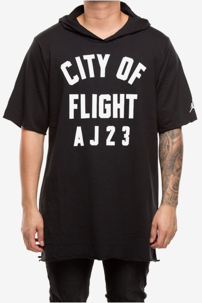 Jordan City Of Flight Hood Tee Black/White