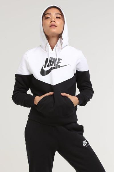 f052b1abc4a3 Nike Women s NSW Heritage Fleece Hoodie Black White Black
