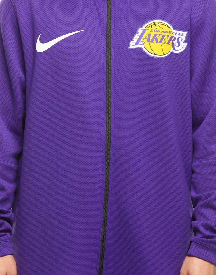 27759cf48 Los Angeles Lakers Nike Therma Flex Showtime Hood Purple Black White ...