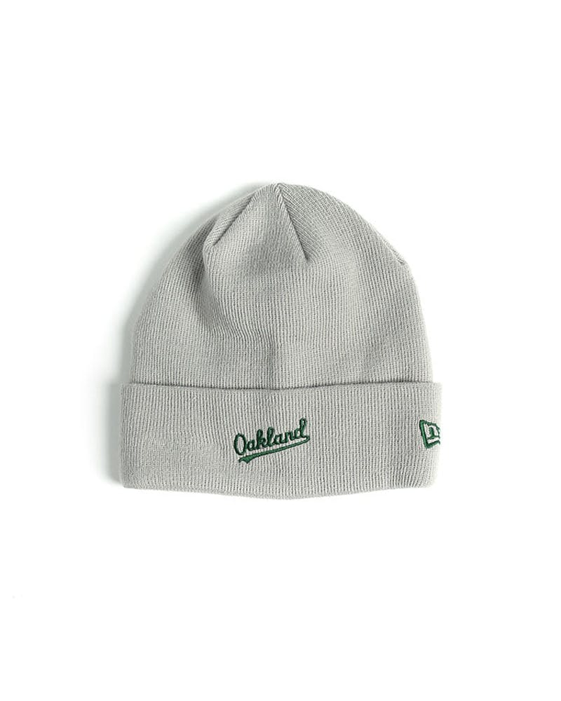 New Era Athletics Dark Knit Beanie Grey