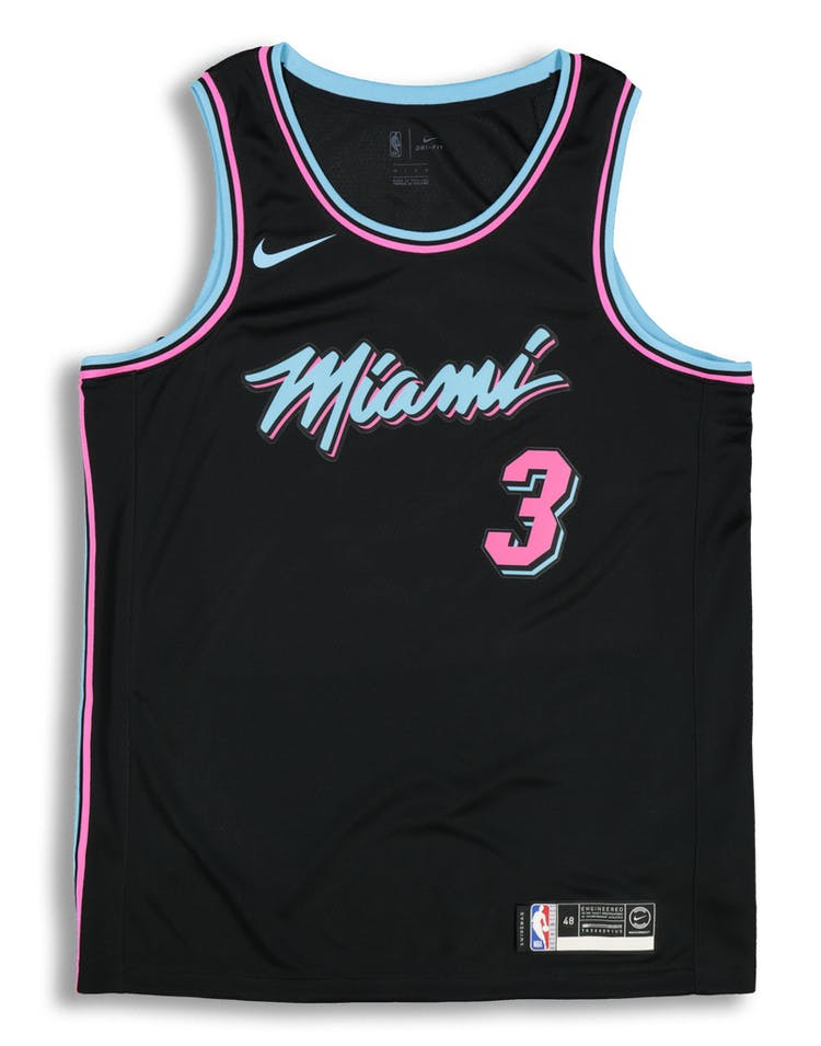 100% authentic 5e5f2 90e26 Nike Miami Heat Dwayne Wade #3 City Edition Swingman NBA Jersey Black
