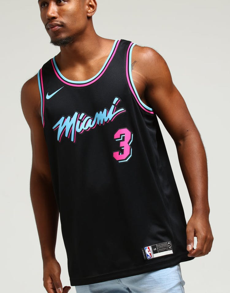 100% authentic c24d0 22395 Nike Miami Heat Dwayne Wade #3 City Edition Swingman NBA Jersey Black