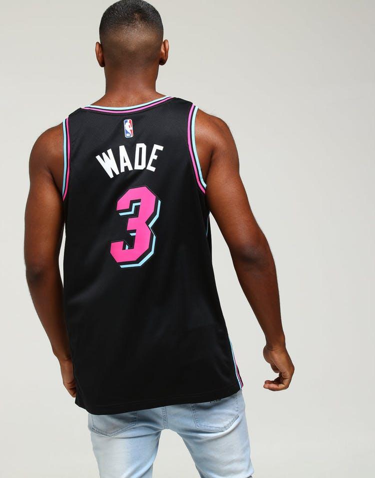 100% authentic a174d 9d812 Nike Miami Heat Dwayne Wade #3 City Edition Swingman NBA Jersey Black