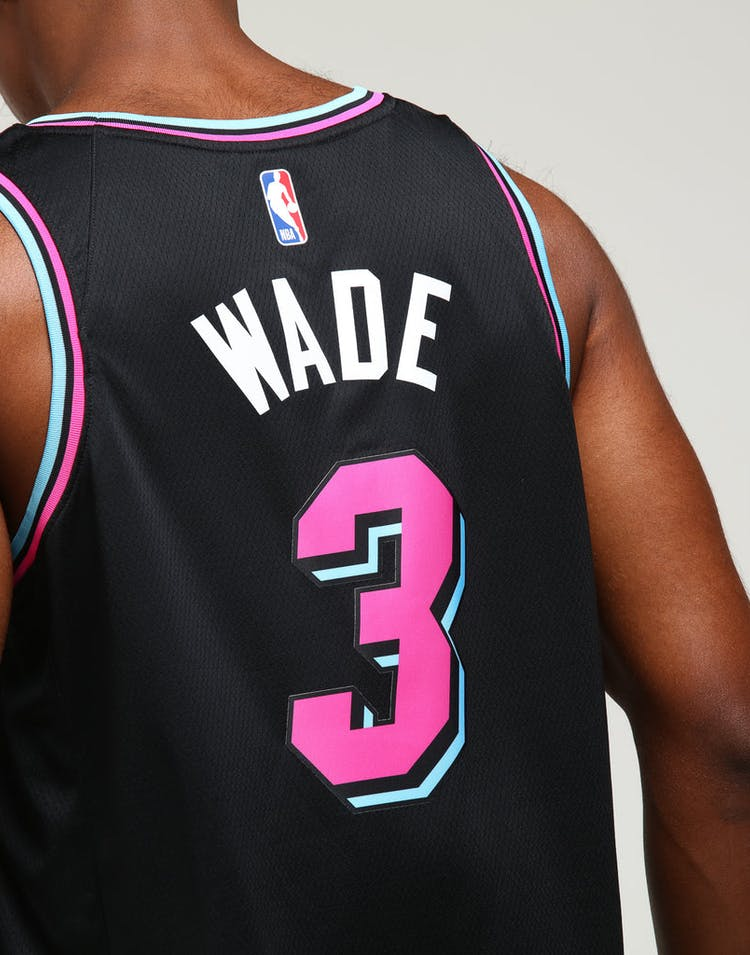 100% authentic ff832 811c8 Nike Miami Heat Dwayne Wade #3 City Edition Swingman NBA Jersey Black