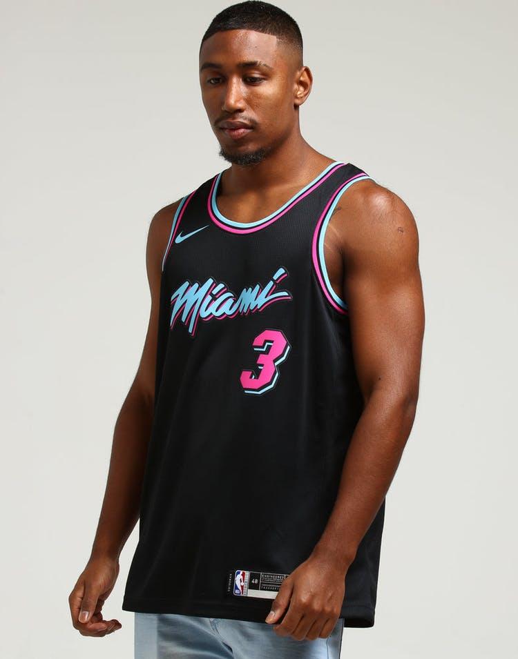 100% authentic c24d0 22395 Nike Miami Heat Dwayne Wade #3 City Edition Swingman NBA Jersey Black
