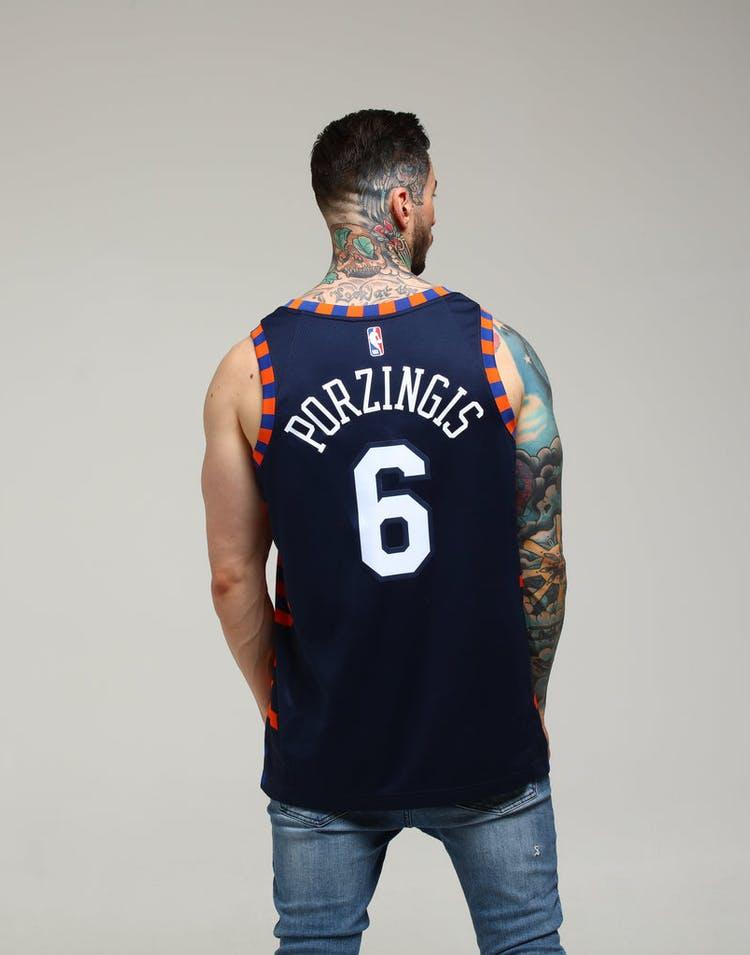 c13453a3397 Nike New York Knicks Kristaps Porziņģis  6 City Edition Swingman NBA Jersey  Navy