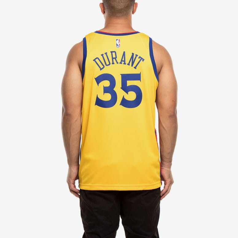 Nike Golden State Warriors  35 Kevin Durant City Edition Swingman Jersey  Yellow bcb7de12e
