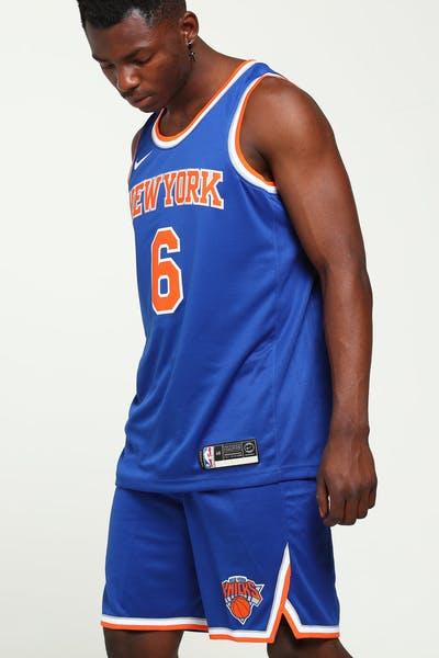 premium selection 50a43 c4f0d Kristaps Porziņģis  6 New York Knicks Nike Icon Edition Swingman Jersey Blue