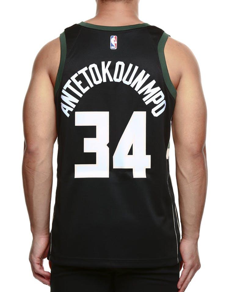 c9361763c2e Nike Milwaukee Bucks  34 Giannis Antetokounmpo Alternate Swingman Jersey  Black Green Cream