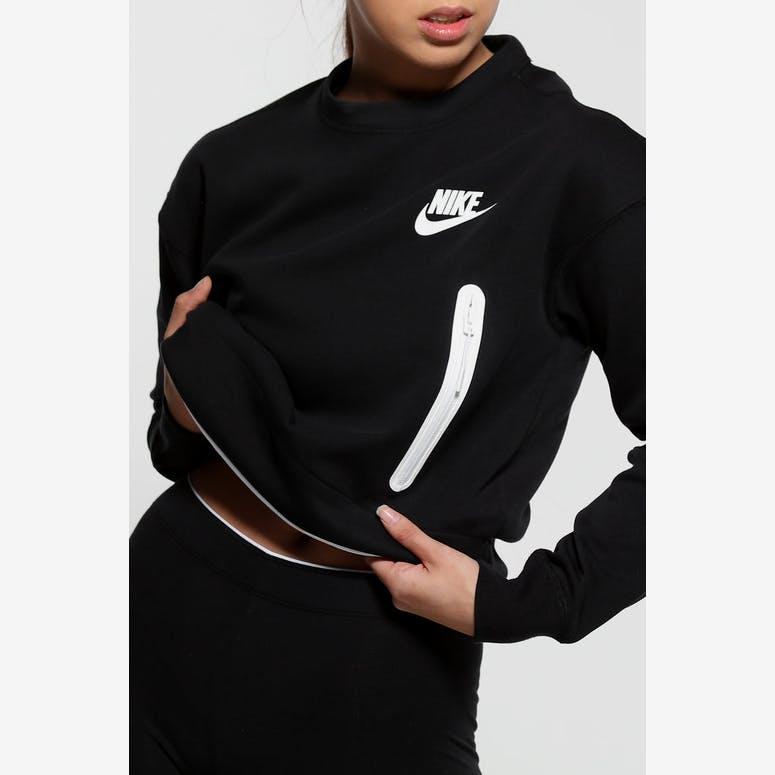 size 40 a2900 6c0af Nike Women s Sportswear Tech Fleece Crew Black White