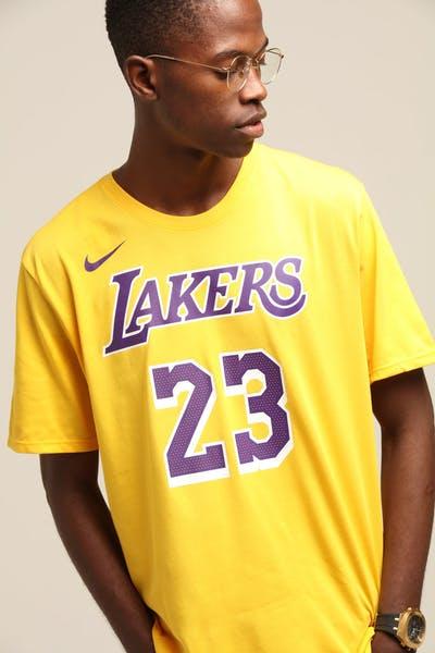 32d89be8b7e Nike Los Angeles Lakers Lebron James #23 Dri Fit Tee Amarillo
