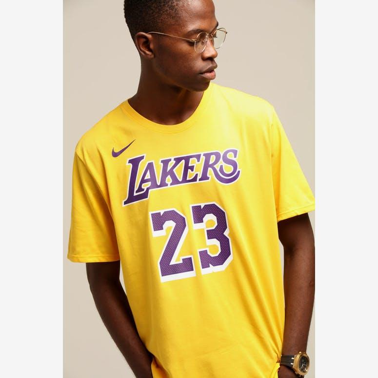842e9551618 Nike Los Angeles Lakers Lebron James  23 Dri Fit Tee Amarillo – Culture  Kings NZ