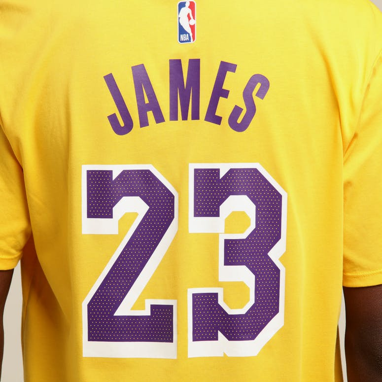 358a9eb6034 Nike Los Angeles Lakers Lebron James  23 Dri Fit Tee Amarillo ...