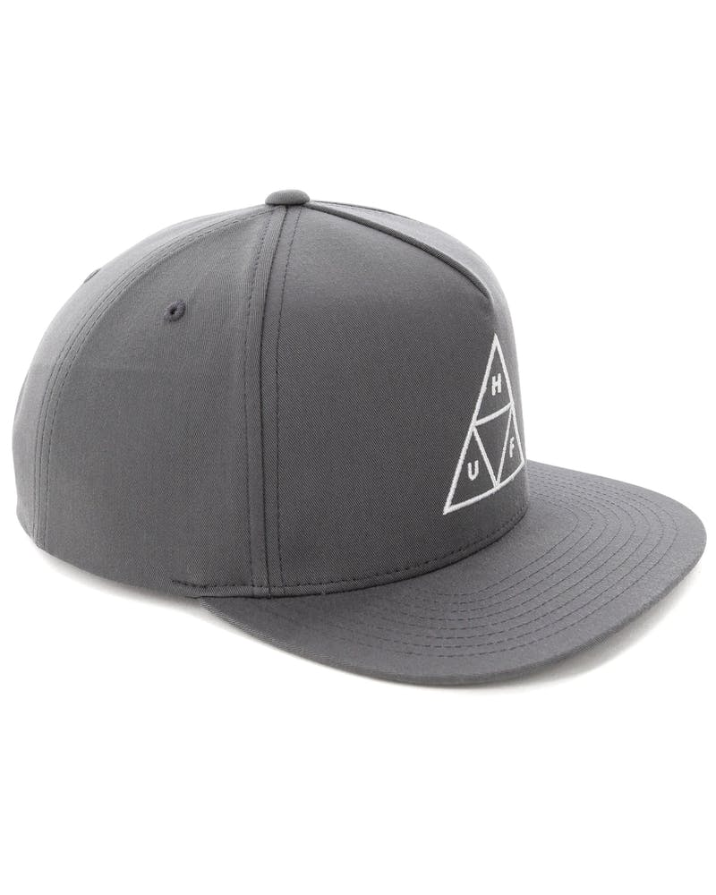 Huf Essentials Triple Triangle Snapback Hat Charcoal
