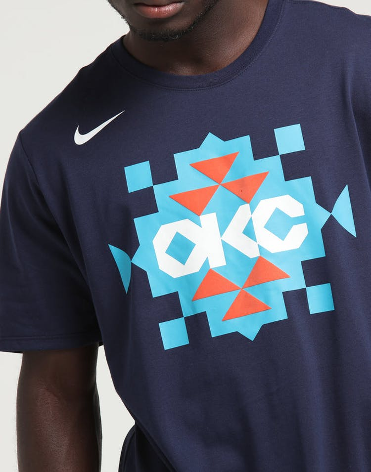 newest 2598f ce863 Nike Oklahoma City Thunder City Edition NBA Dri-Fit Tee Navy