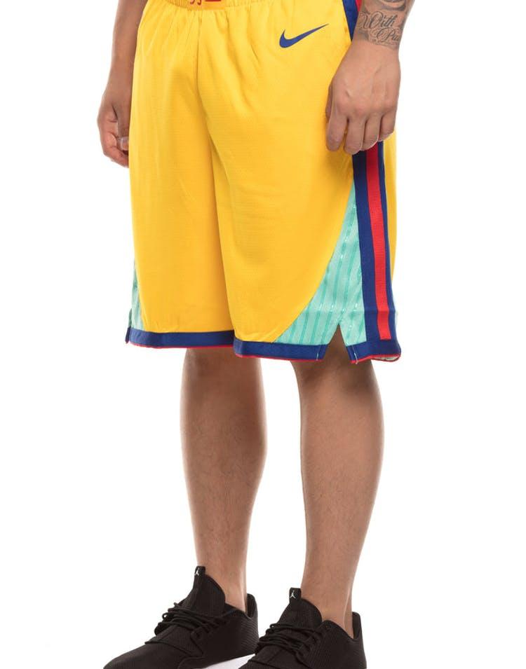 0729d5cb1 Golden State Warriors Nike NBA City Edition Swingman Shorts Yellow Blue