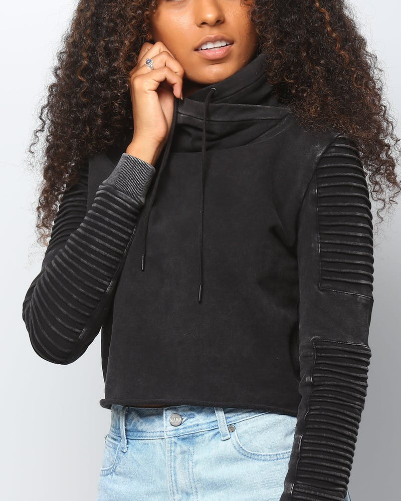Nana Judy Women's Adeline Funnel Neck Crop Sweat Acid Black