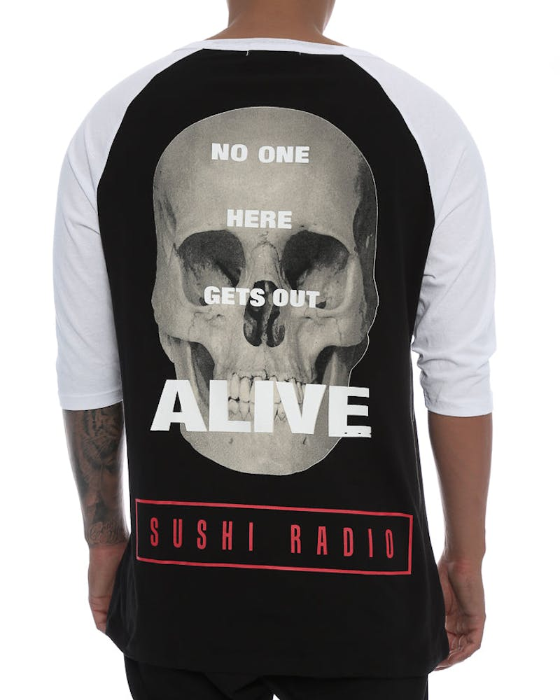 Sushi Radio Alive 3/4 Sleeve Tee Black/White