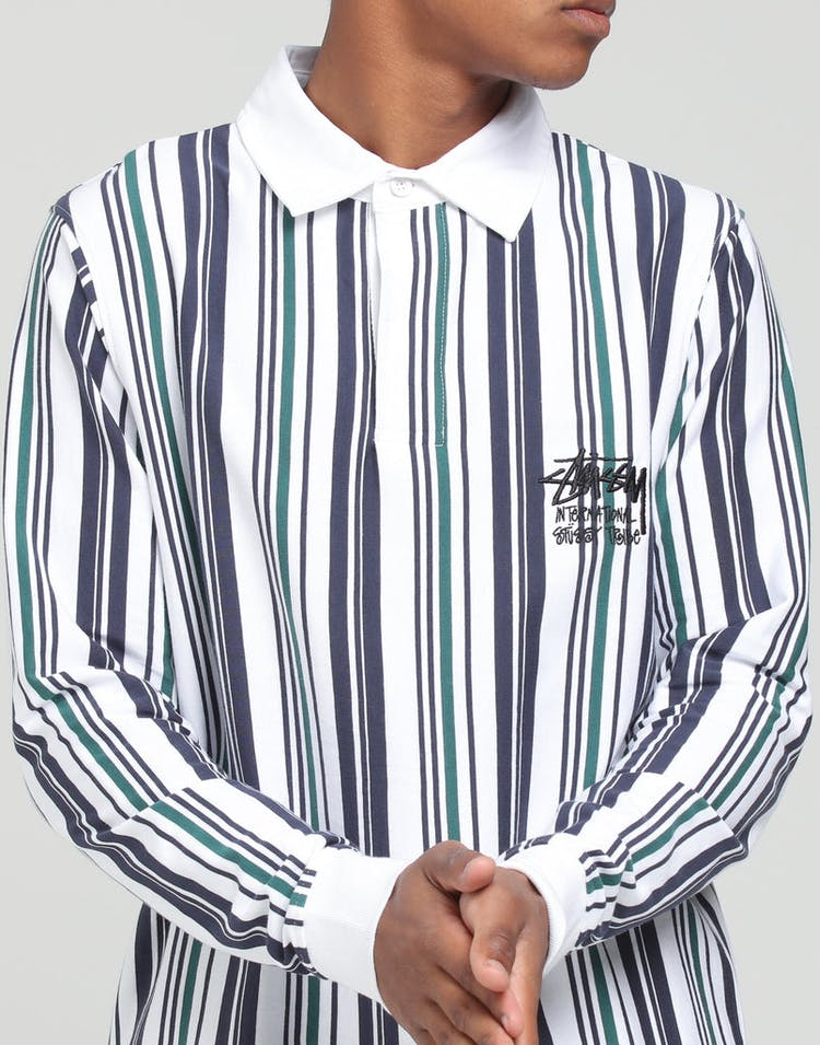 26a4f374ea Stussy Cali Vertical Stripe Rugby Shirt White – Culture Kings NZ