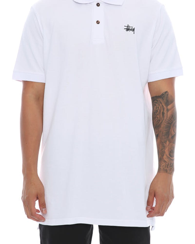 Stussy Graffiti SS Polo Tee White