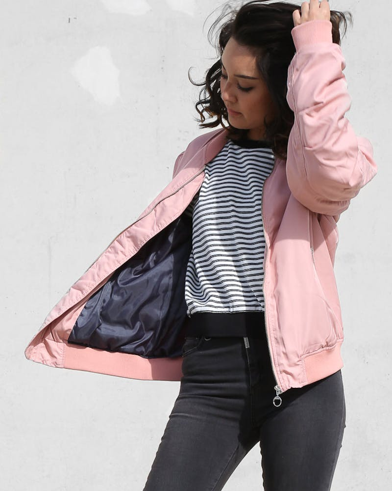 STUSSY SATIN BOMBER JACKET LIGHT PINK
