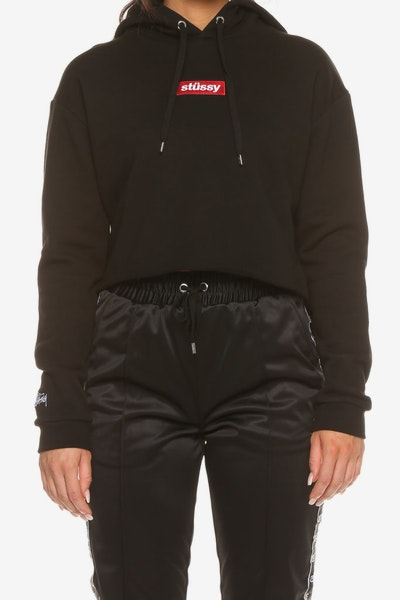 Stussy Women's Box Italic Pop Hood Black