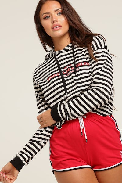 Stussy Women's Niche Crop Hood Black Stripe