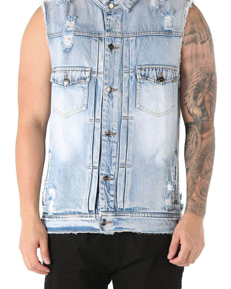 Dead Studios Destroy Denim Vest Washed Indigo
