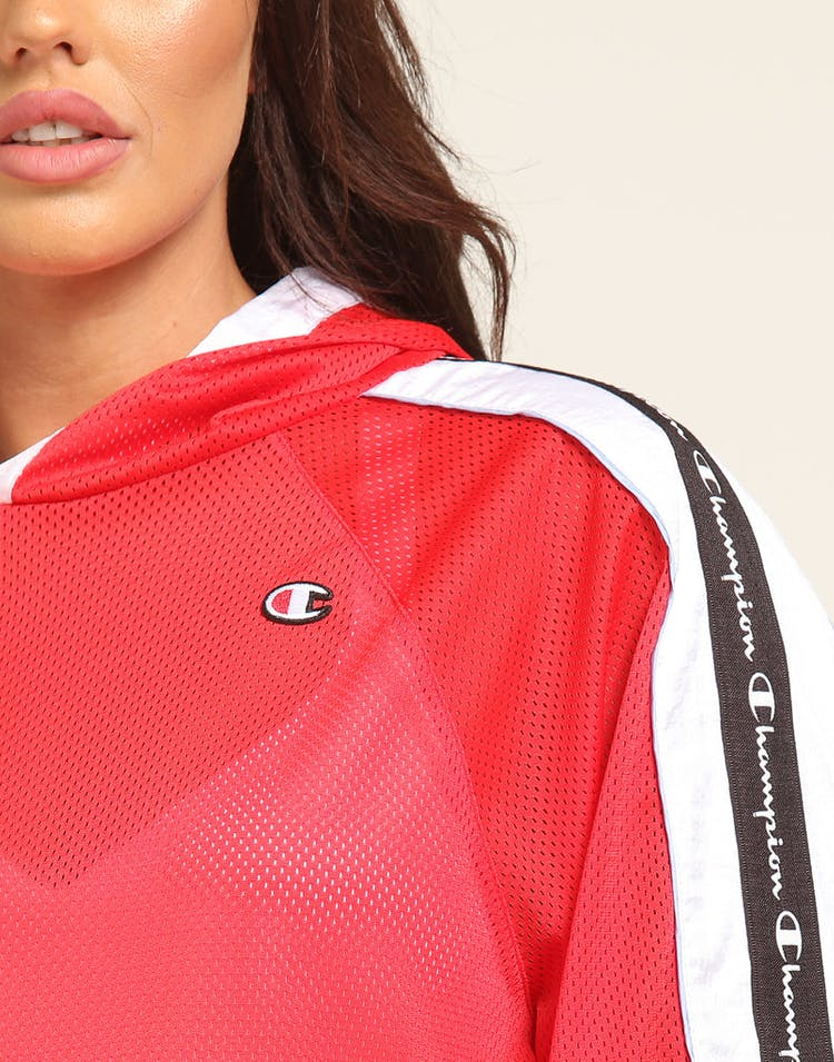 Champion Women's Hooded Crop Mesh Top Red
