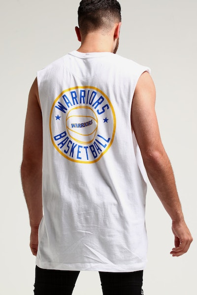 Mitchell & Ness Golden State Warriors Full Circle Logo Muscle White