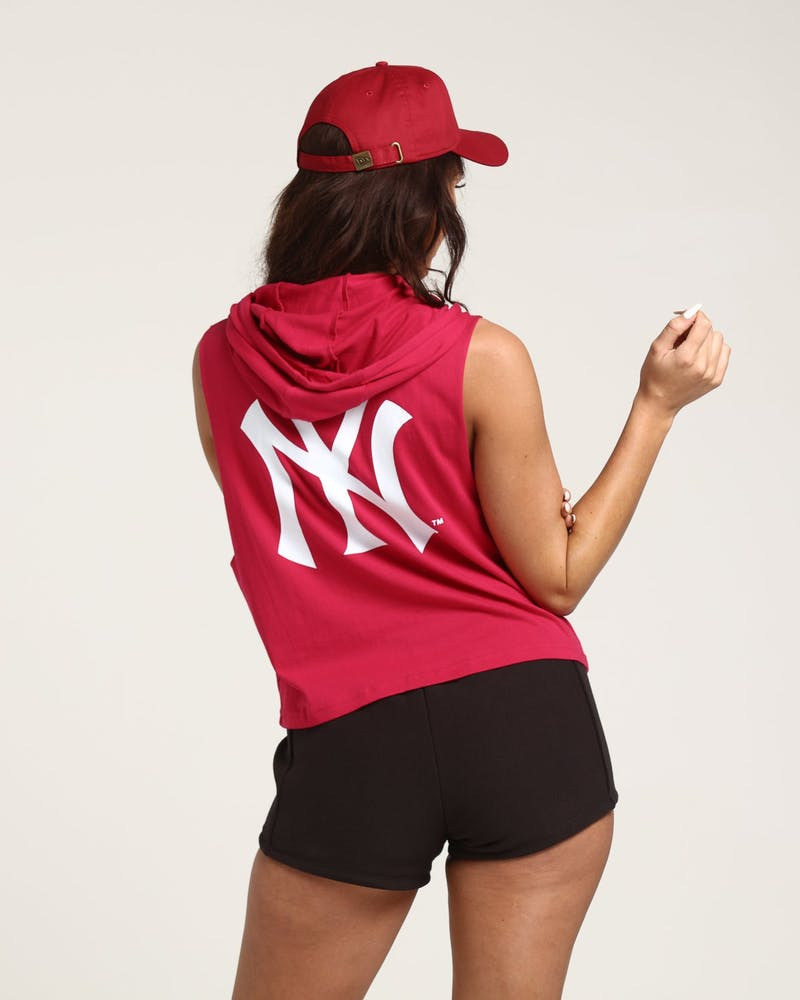 Majestic Athletic Women's New York Yankees Leana Hooded Muscle Dark Pink