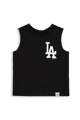 MAJESTIC ATHLETIC INFANT LOS ANGELES DODGERS REMIC MUSCLE TEE BLACK
