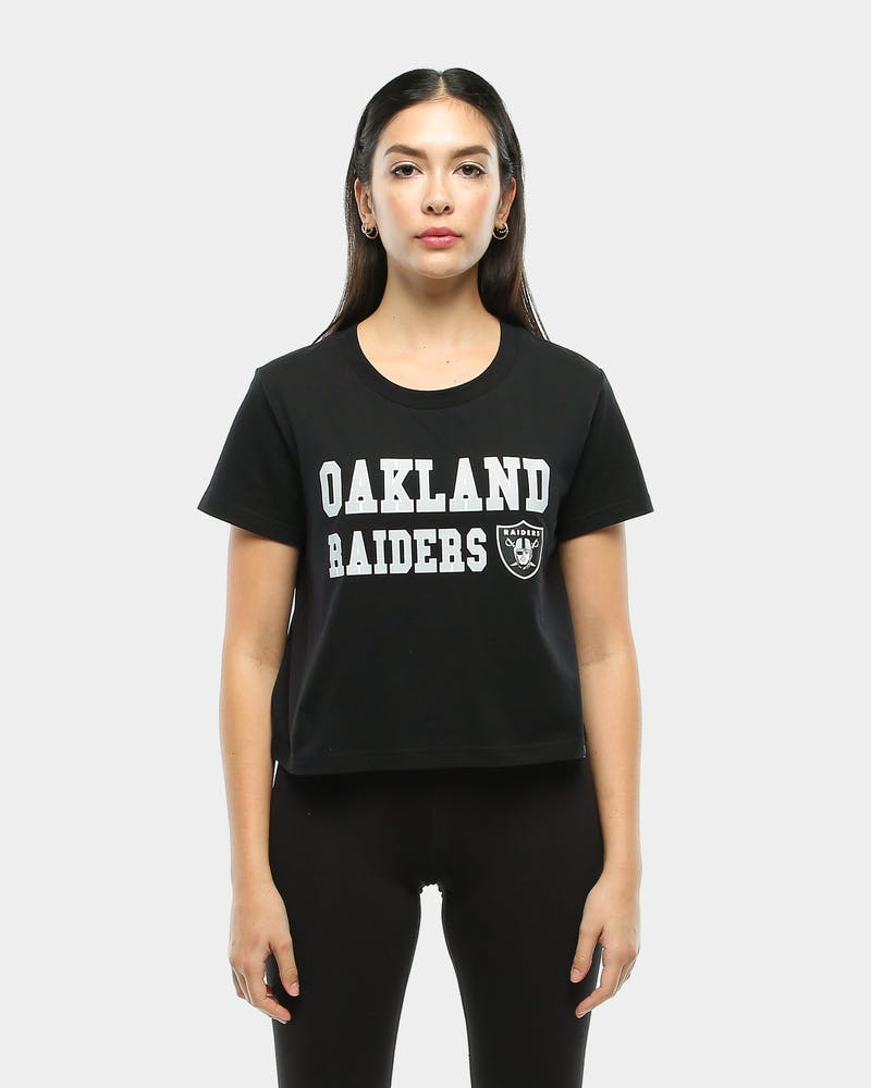 Majestic Athletic Women's Raiders Fedora Cropped Tee Black