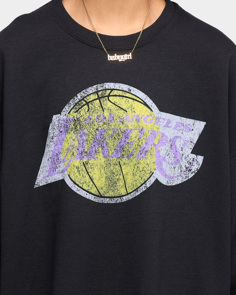 Mitchell & Ness Men's Los Angeles Lakers Oversize XL Logo Crew Sweat Vintage Black