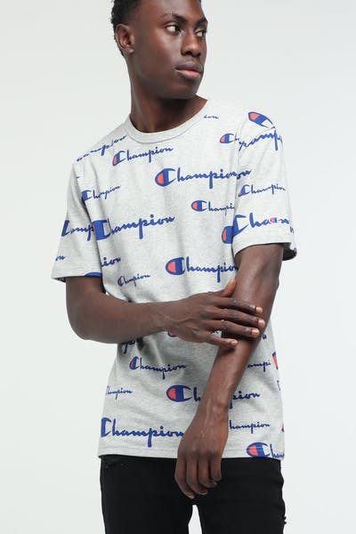 Champion Heritage Tee All Over Print Oxford Grey Heather/Script