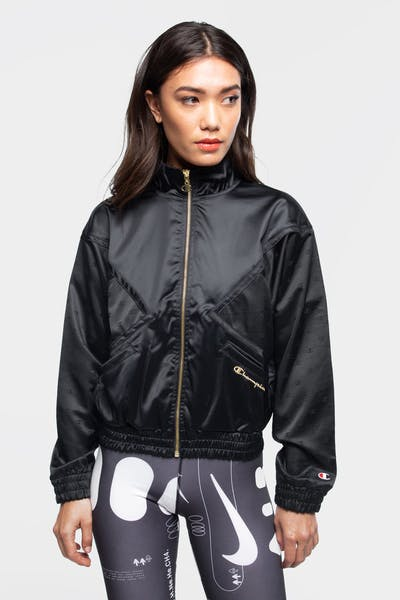 CHAMPION WOMEN'S SATIN JACKET BLACK
