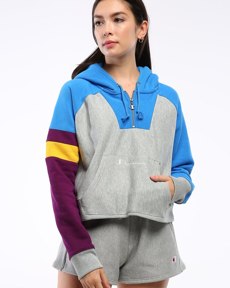 Champion Women's Colorblock Reverse Weave Oversized Hood Blue Jay