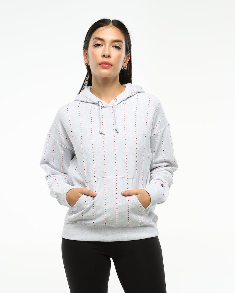 Champion Women's Reverse Weave Terry Hood Grey Print